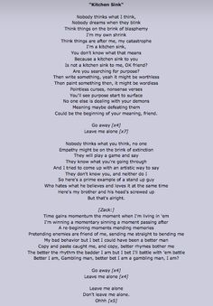 """If you ever feel bad, listen to this beautiful song """"Kitchen Sink"""" by twenty one pilots. It's just beautiful"""