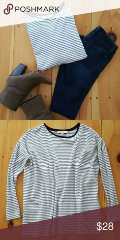 LOFT Oversized Swing Striped Tee Shirt Excellent condition! Black and white stripes. Made of a thick rayon, nylon blend material. LOFT Tops Tees - Long Sleeve