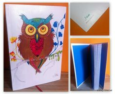 #Printed one of my #Drawings to make a #notebook. Used materials: - #cansonpaper  #copicmultiliner #pencil  #promarkers #color  #retro  #vintage #Owl #Bookbinding