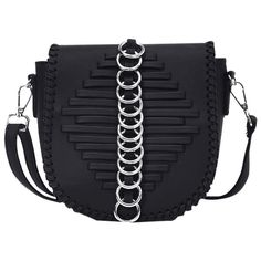 Black Whipstich Metal Ring Crossbody Bag ($13) ❤ liked on Polyvore featuring bags, handbags, shoulder bags, crossbody purse, metal purse, cross body, cross-body handbag and crossbody shoulder bag