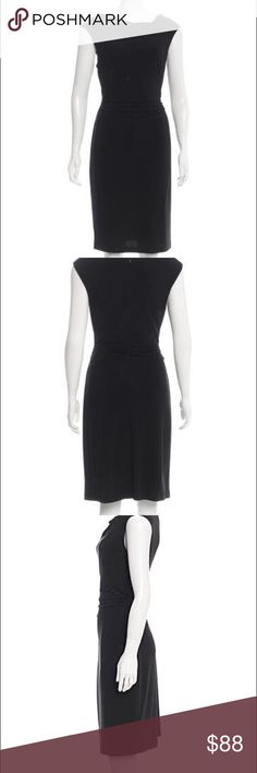 Black David Meinster Dress! Black David Meister sleeveless knee-length dress with draped detailing throughout, cowl neckline and concealed zip closure at center back. David Meister Dresses Midi