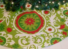 Christmas Tree Skirt Suzani Tree Skirt Contemporary Tree Skirt Red And Green Tree Skirt Christmas Decoration