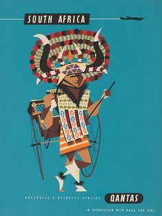 Vintage Poster Art Print: South Africa - African Native Costumed Dancer by Harry Rogers : - Poster Art, Poster Prints, Art Prints, Africa Destinations, Diy Wall Stickers, Vintage Travel Posters, Vintage Airline, Retro Posters, Expositions