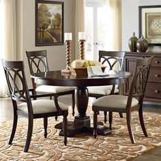 Shown with two side chairs, two arm chairs, and optional buffet.