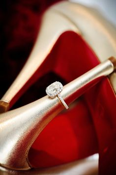 cushion cut ring + Louboutins // image by 4eyes Photography