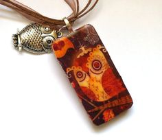 Artsy Owl Altered Domino Pendant by DominoDivine on Etsy