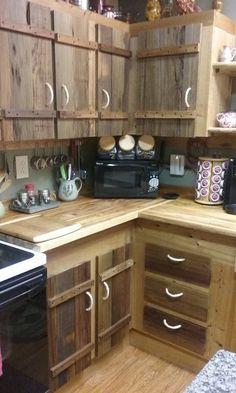 Rustic Home Interior DIY Kitchen Makeover Projects Pallet Kitchen Cabinets, Kitchen Cabinet Doors, Diy Cabinets, Kitchen Cabinet Design, Rustic Cabinets, Kitchen Cabinets Made From Pallets, Rustic Cabinet Doors, Pallet Cabinet, Farmhouse Cabinets