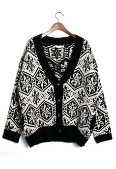 #ChicWish  Snowflake Pattern Fairisle Cardigan in White/Black