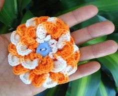Crochet Flower.  Add a felt circle and alligator clip for a cute hair or headband accessory
