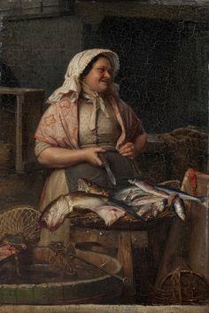 """Carl Bloch (1834 - 1890), """"A Fishwife"""". 1875"""