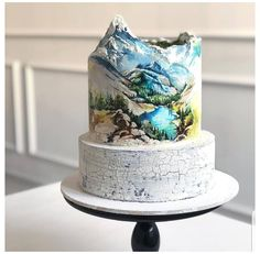 Amazing cake by this cake is so stunning! i am fan. Pretty Cakes, Cute Cakes, Beautiful Cakes, Amazing Cakes, Fondant Cakes, Cupcake Cakes, Mountain Cake, Nature Cake, Hand Painted Cakes