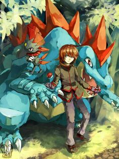 Pokemon fan art by me. Silver(Pokemon Special) with Feraligatr and Weavile. He is my favorite character in Pokemon Special andWeavile is my fav Pokemon. This picture I try 'brush stroke' tech. Pokemon Gif, Fotos Do Pokemon, Mega Pokemon, Pokemon People, Pokemon Fan Art, Pokemon Games, Cute Pokemon, Pokemon Silver, Pikachu