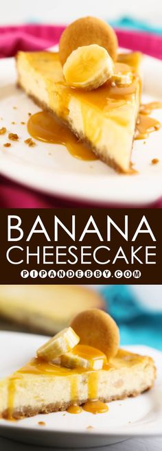 Banana Cheesecake | The perfect, most deliciously creamy way to use up ripe bananas!
