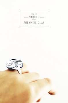 How to marble with polymer clay amd make these marbled blue and white rings