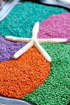 A beautiful invitation to play with rainbow dyed barley and seashells. Great for sensory and imaginative play! Sensory Art, Sensory Tubs, Sensory Boxes, Sensory Activities, Preschool Activities, Small World Play, Kindergarten, Fun Learning, Teaching Kids