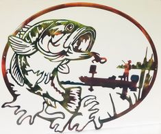 Excited to share this item from my #etsy shop: Largemouth Bass & Man In Fishing Boat Oval Indoor or Outdoor Wildlife Metal Wall Art