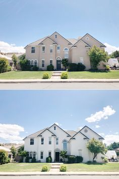 Exterior house before and after life 45 ideas Stucco House Colors, White Stucco House, White Exterior Houses, Stucco Exterior, Exterior Paint Colors For House, Paint Colors For Home, Exterior Colors, Exterior Design, Colonial Exterior