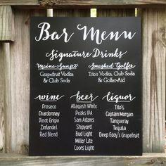 Hand painted Bar Menu, Drink Menu, Signature Drinks Wedding Chalkboard