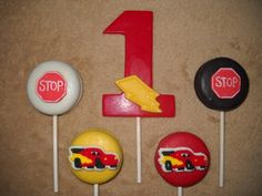 1 chocolate disney cars mcqueen mater 3x4 number lollipop lollipops | sapphirechocolates - Edibles on ArtFire
