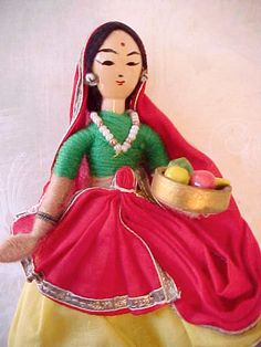 Darling Little Vintage Indian Doll of Wood and Cloth