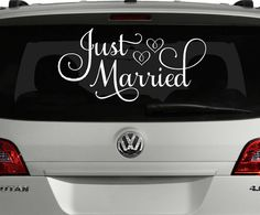 Just Married Car Decal Just Married Sign for Car by VinylWritten