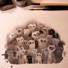 All cats are grey by night  here I tried something different. Blue and black ink and a lot of water. Inktober #5 #inktober #inktober2015 #inktober2go #cats #kittens #art #artist #illustration #illustrator #inkonpaper #experiment #experimenting