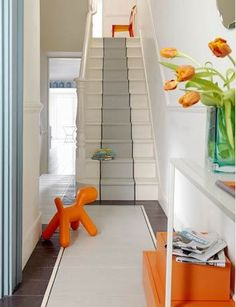 painted stair runner with matching painted floor runner Painted Staircases, Painted Stairs, Staircase Pictures, Staircase Ideas, Hallway Ideas, Wood Staircase, Wooden Stairs, Entryway Ideas, Staircase Design