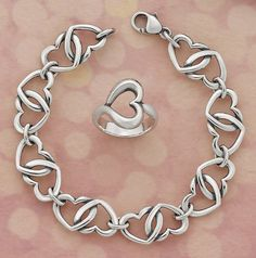 Double Heart Link Bracelet and Abounding Heart Ring - love love love both!