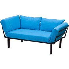 Merax Convertible Sleeper Futon Sofa Chaise Lounge Sofa Bed Metal Frame with 7 inch mattress Blue