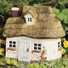 Miniature Fairy Garden Thatched Roof Cottage...another Plow & Hearth purchase.  Maybe my spouse is right!!