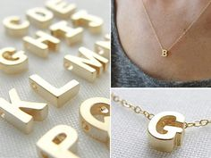 { Tiny Gold Initial Necklace by Olive Yew from Olive Yew | OpenSky }