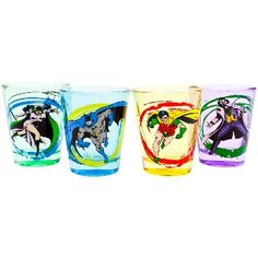 Batman may not use guns, but no one ever said he was opposed to shots, right? DC Comics presents this set of four colored glass shot glasses, with Batman, Robin, the Joker, and Catwoman in action-packed paint-splatter graphics on the front of each. For the chaser, why not try our Batman Pint Glass (#64501) or Batman Beer Mug (#67607)?