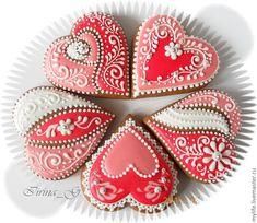Купить Пряники-сердечки Бело-розовые - розовый, бело-розовое кружево, пряники-сердечки