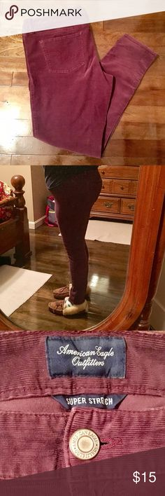 American Eagle Skinny Cords These cords are worn, but there is SOOO much life left! They are my favorite pair of cords, but I must let them go. They are super skinny, so they are perfect for riding boots! They hug your curves for sure! American Eagle Outfitters Pants Skinny