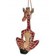 Nobody likes a stiff neck, so giraffes need yoga, too! The Yoga Giraffe Ornament is a fun, whimsical addition to your fair trade tree. Gnome Ornaments, Wood Ornaments, Giraffe Photos, Family Ornament, Small Gift Bags, Polymer Clay Animals, Festival Decorations, Creative Gifts, Disney Art