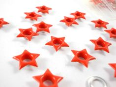 50 PC-3/16 orange stars eyelets for scrapbooking,craft,sewing project and much more