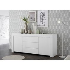 Carney sideboard in matt white with 2 doors and 3 drawers, this classic design cabinet will add a touch of elegance and charm to your home decor - 41148 modern, contemporary wooden sideboard furniture. For living room, kitchen, dining room &. Sideboard Modern, Retro Sideboard, White Sideboard, Sideboard Table, Decoration Buffet, Deco Buffet, Wood Drawers, White Drawers, Dining Room