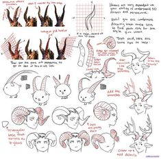 Drawing Tips solthrys: Horns are tough since they're complex shapes that often overlap. Until you're comfortable with them I'd highly suggest always looking up ref pics of the type you want. Drawing Poses, Drawing Tips, Drawing Reference, 3d Drawings, Animal Drawings, Teeth Drawing, Creature Drawings, Poses References, Creature Design
