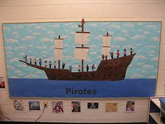 Our bulletin board for the Pirates and Treasures unit featured a pirate ship with all of the children dressed as pirates aboard. Pirate Bulletin Boards, Book Bulletin Board, Classroom Bulletin Boards, Ocean Bulletin Boards, Elementary Classroom Themes, Preschool Classroom, Preschool Ideas, Classroom Ideas, Kindergarten