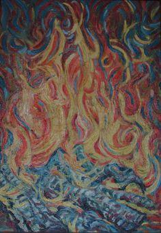 Oheň, olej na plátne 68 x 48 cm, Pavel Huszár, Banská Bystrica, Slovakia