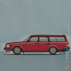 Enter the Wagon: #Red Volvo 245 Wagon ©2015 Tom Mayer, Monkey Crisis On Mars – All Rights Reserved #Volvo #Wagonation #VolvoLove #Brick