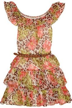 Kate Mack Girl's 7-16 Kitty Kahlo Dress. The triple ruffled skirt on this tropical animal print chiffon dress is just perfect for the trend-conscious young lady in your life. She'll love the ruffled neckline that can be worn off the shoulder, and the cute belt that comes with the dress is a fun little bonus!'