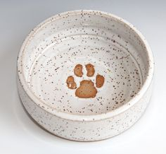 White Paw Print Dog Bowl by ThePortlyPug on Etsy