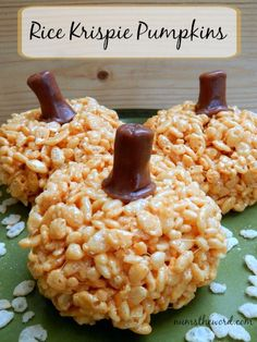 Num's the Word: If you love Rice Krispie Treats, you'll love these fun Rice Krispie Pumpkins. A perfect activity for the kids to make and devour. Top with a Tootsie Roll and you've got a tasty treat!