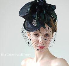 Summer Fashion Accessory Black Mini Top Hat Del Mar Races Coq Feathers Ascot Royal Derby Weddings