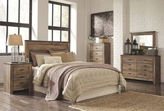 rustic barnwood style queen bedroom set with headboard