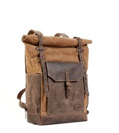 Brown waxed canvas backpack. Waxed canvas leather backpack/rucksack. Brown leather backpack. Brown waxed canvas hipster backpack/rucksack. by InnesBags on Etsy https://www.etsy.com/listing/234644444/brown-waxed-canvas-backpack-waxed-canvas