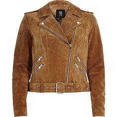 Brown suede biker jacket | £120 | #RiverIsland | #RIDenim