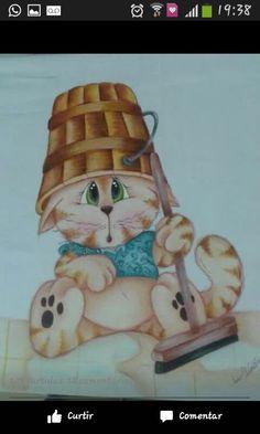 pintura em tecido - gato
