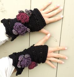 Rose Onie Fingerless gloves Black Purple and by Valerie Baber Designs - IntricateKnits, $45.00
